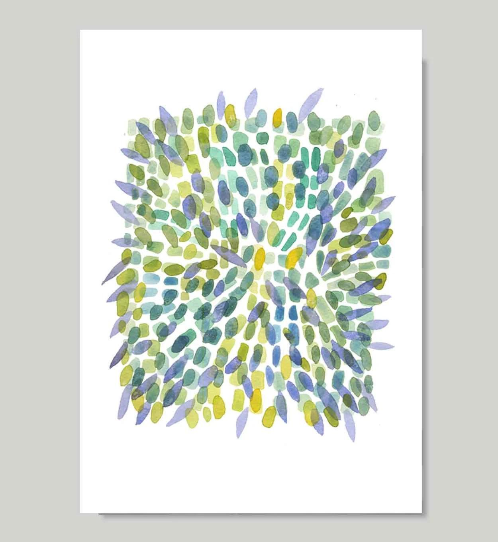 Explosion Spring print from original watercolor painting - reproduction green blue yellow petals - LouiseArtStudio