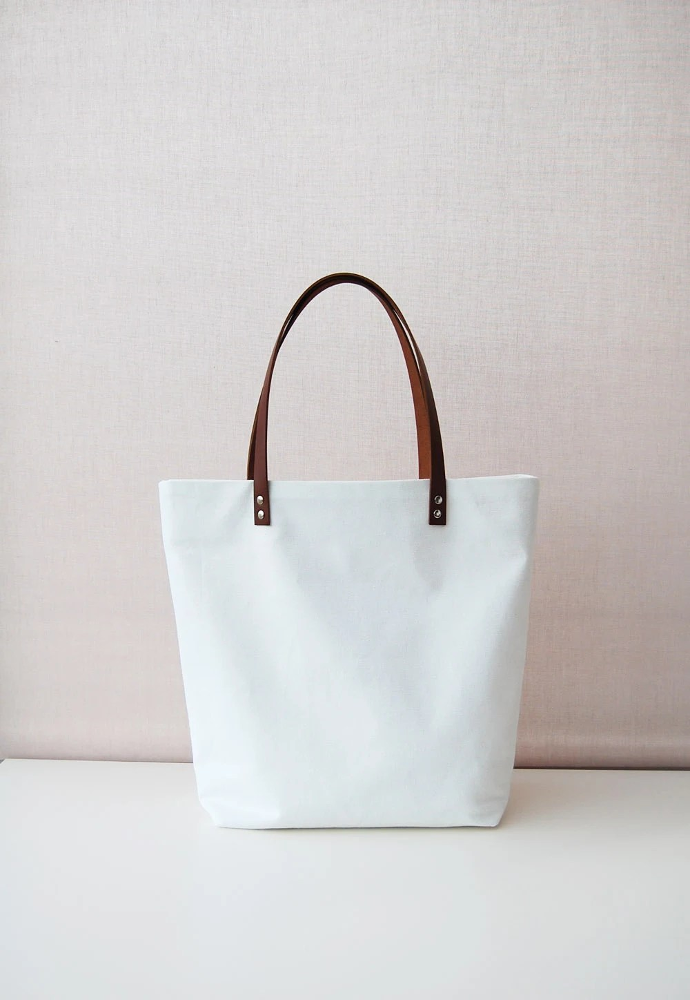White Canvas tote bag with leather handles - ForestBags
