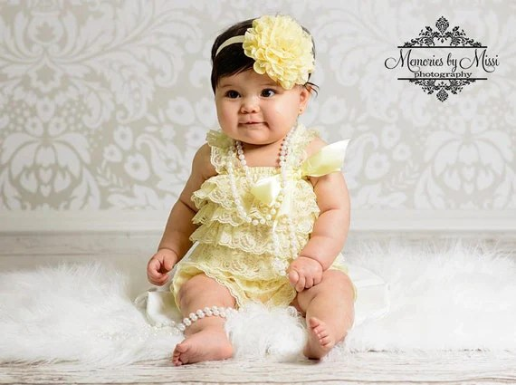 baby romper, Light Yellow Lace Petti Romper, rompers, baby girls Rompers, Photo props, newborn Rompers, Birthday outfit, flower girl, baby