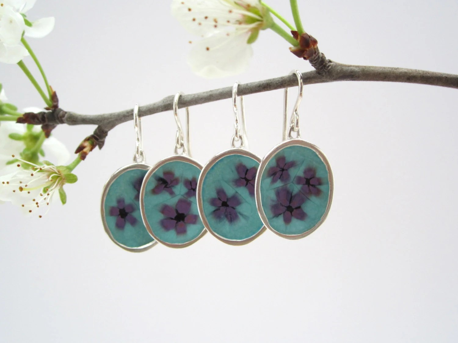 Bridesmaid Earrings Set of 2 in Purple and Mint Enamel - marmarModern