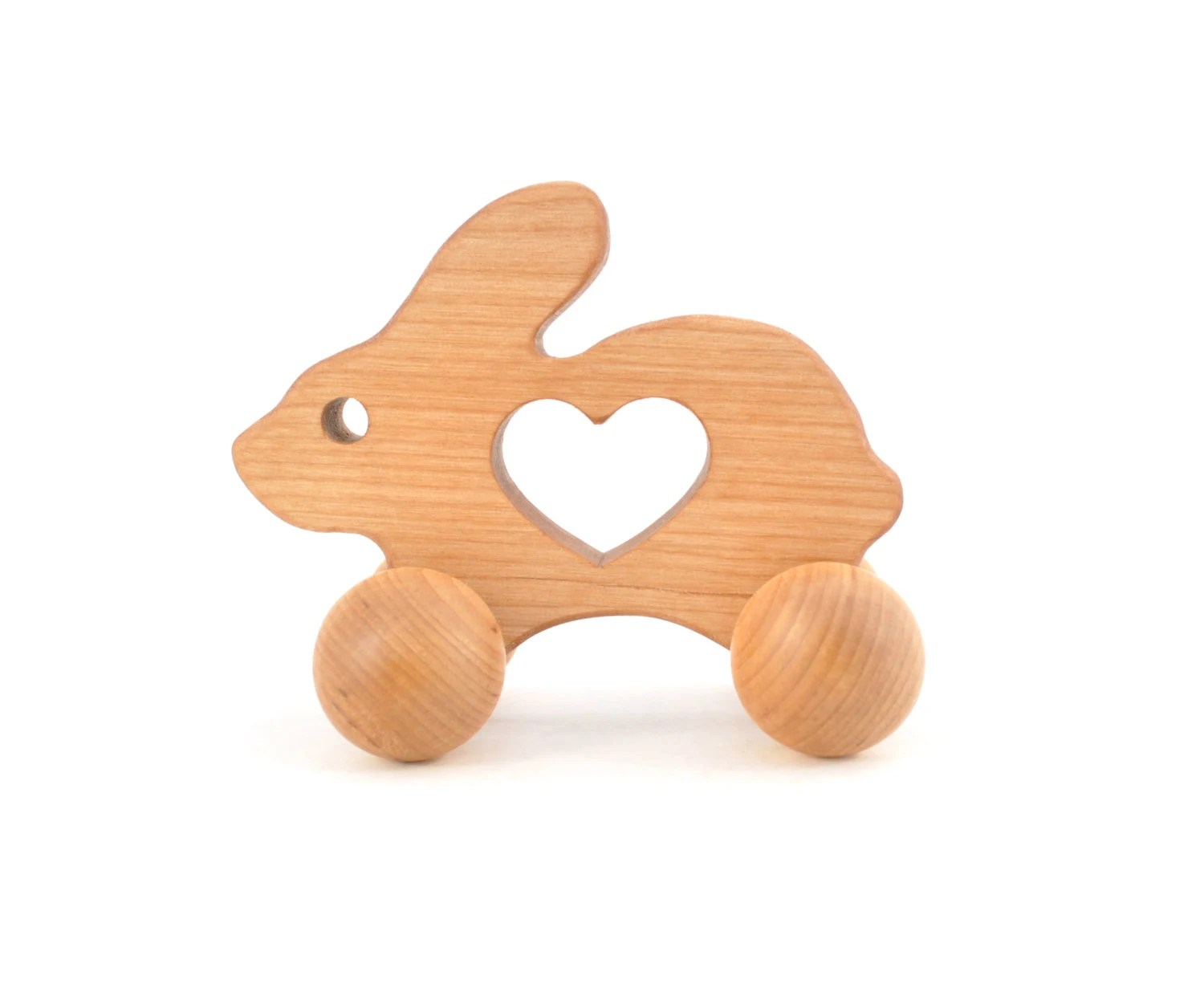 Wooden Easter Bunny Toy - Waldorf Wood Animal Toy -  Natural Rabbit Push Toy for Babies and Toddlers - Montessori Inspired Eco-Friendly Play - KeepsakeToys