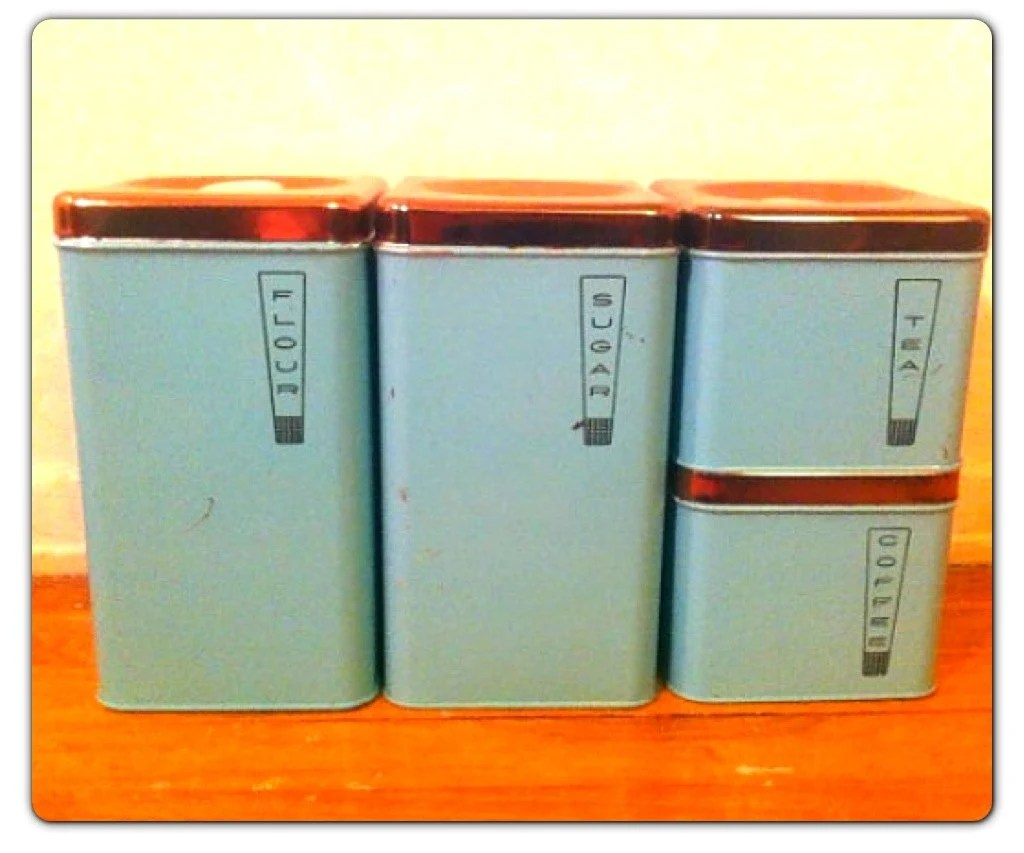 Atomic Kitchen Canisters // 50s Turquoise Coffee Containers // Vintage Lincoln BeautyWare Canisters