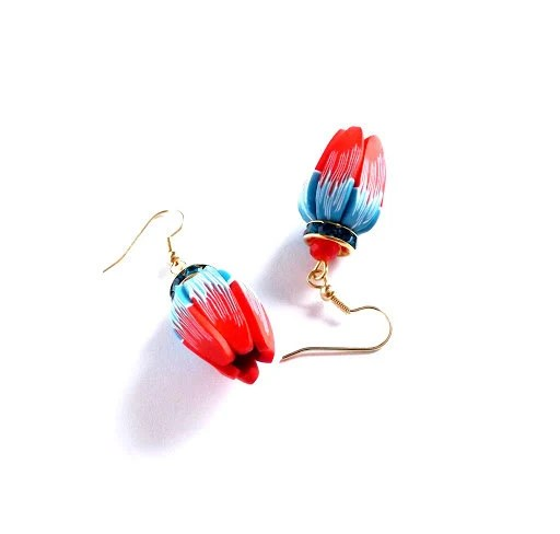 Earrings red blue clay. - LindaVJewelry