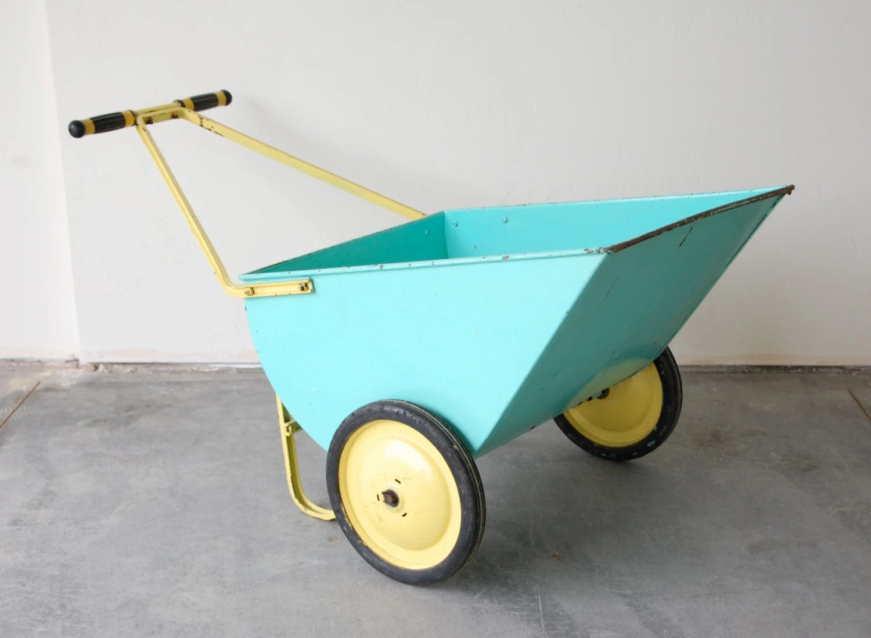 Vintage Metal Wheel Barrow Gardening Cart in Aqua Blue and Yellow - sugarSCOUT