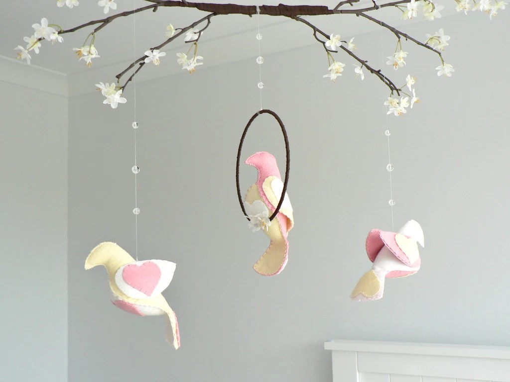 Bird mobile and cherry blossoms - You choose your colors - rose pink, white and ivory - Nursery decor - baby mobile - LullabyMobiles