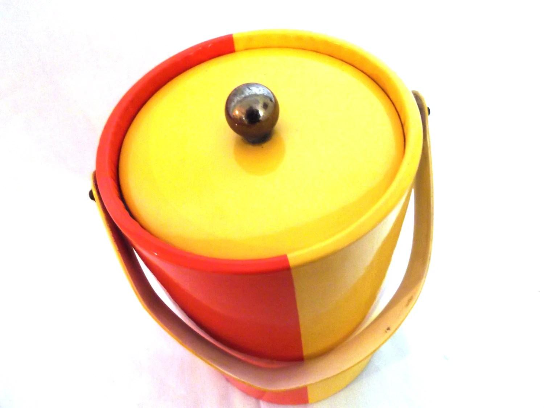 Vintage Vinyl Two Toned Orange and Yellow Ice Bucket - Mod Retro Groovy - wildforvintage