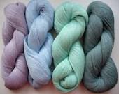 Linen Yarn grey blue azure green violet 400 gr (14 oz ), Cobweb / 1 ply, each hank contains approximately 3000 yds - Coloredworld