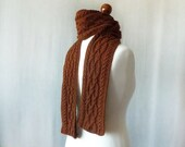 Brown cable knit Men Scarf - Father day gift - KnittyStories