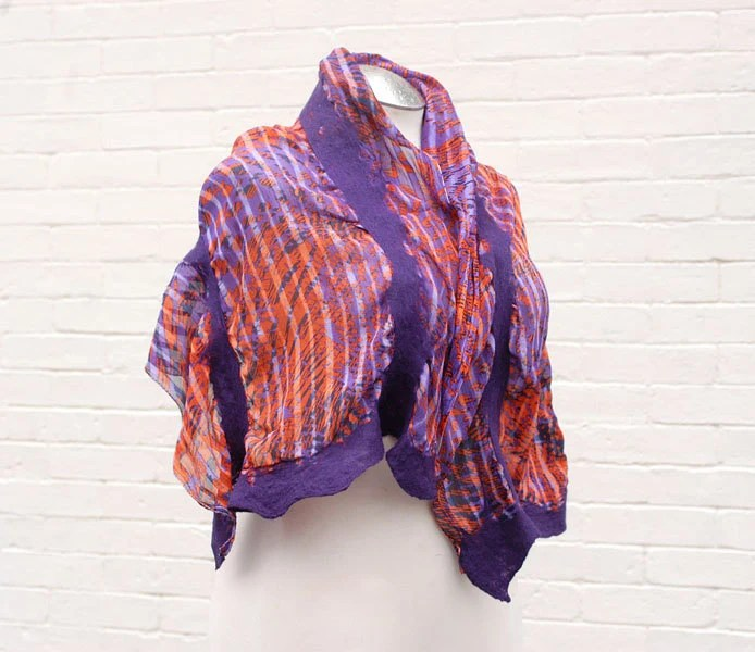 Romantic silk nuno felted scarf purple orange bright dots wide shawl accessory gift for her - CityCrochet