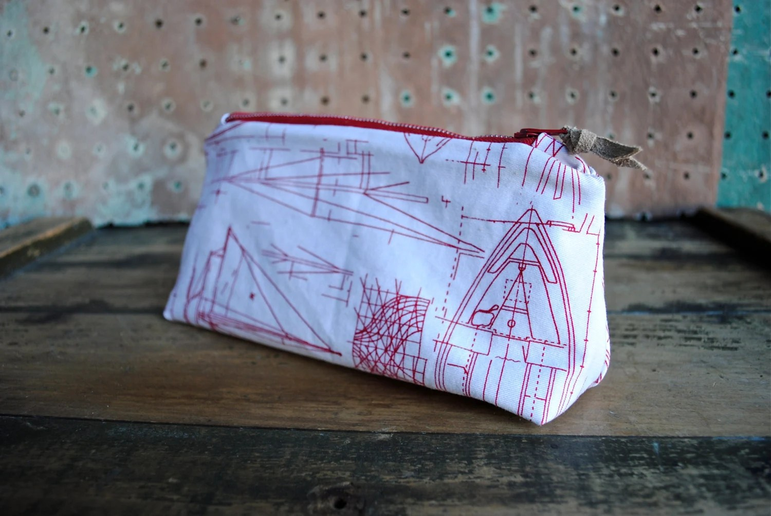 Nautical Zip Pouch w/ Vintage Suede Zipper Pull / Vintage Printed Cotton Fabric with Ship Drawings - SquidWhaleDesigns