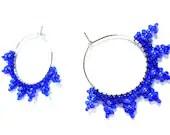 Beaded Blue Hoop Circle Earrings - MegansBeadedDesigns