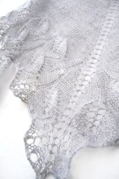 Silver knit  shawl, fall fashion shawl, lace shawl, hand knit shawl - KnittyStories
