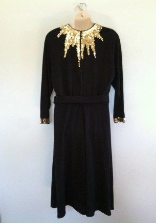 20% OFF Plus Size Vintage Black Dress with Gold Sequins and Belt/Evening/Party/Holiday