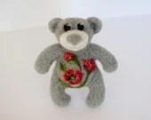 Needle felted bear brooch, gray bear, red poppy. - HelenDream