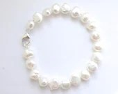 White Pearl Bracelet - AA Grade 8.5 to 9mm Baroque Freshwater Pearls - ExclusivelyPearls