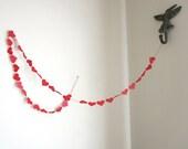 Red Valentine's Day - Wedding Hearts Garland - Red Wedding Garland - Red Paper Hearts - Custom Colors - Love Garland - ArtsDelight