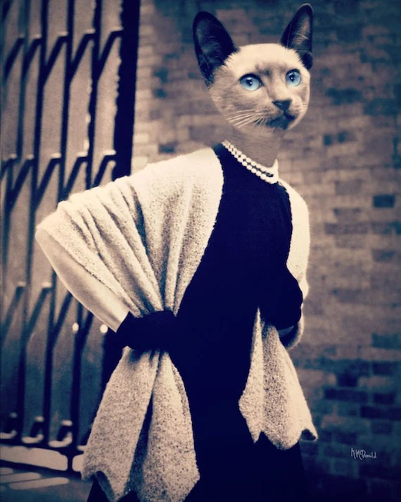 "Cat Art Print, Siamese, Mixed Media Collage Art 8 x 10  ""So Chic"" Fashion Photography, Black and White, Watchful Crow - WatchfulCrow"
