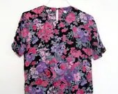 FLORAL CRUSH Rose Print Blouse S/M