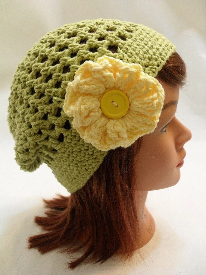Olive Green Slouchy Beanie with a Yellow Flower XSmall - AddSomeStitches
