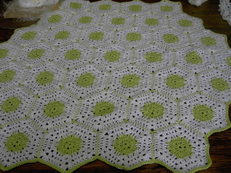 New handmade Hexigan Granny design spring green,  white colour Crochet Blanket  CUDDLE BLANKET (nannycheryl original) 648
