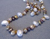 Earrings and Necklace with Topaz Crystals and  Ivory, Golden Olive, and Peach Pearls