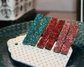 Mini Vintage Style Clothespin Set - Glittered Shabby Chic