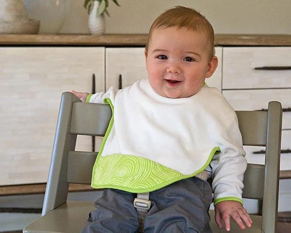 Organic Sleeved Bib with Lime Green Swirls in Size 2T, Long Sleeve Eco Bib, READY to ship