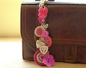 bag purse charm -- Dorset button charm  for bag, purse or key, in hot pink and silver