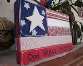 Patriotic wood flag stacker blocks, wood sign shelf, home decor, God Bless America, Red White and Blue, summer seasonal stacker blocks