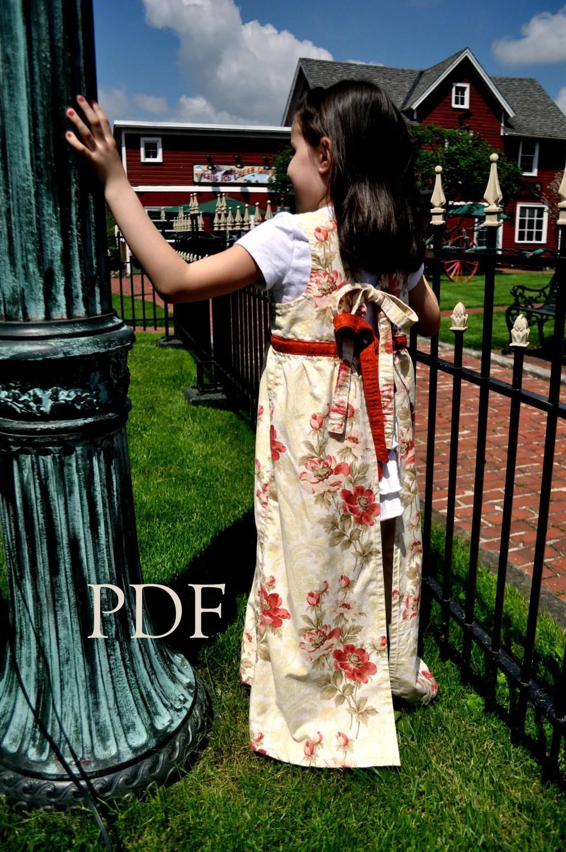 Classic Girls Full Apron, Regency Era Inspired, pdf Sewing Pattern, Thumbprint Patterns, ebook