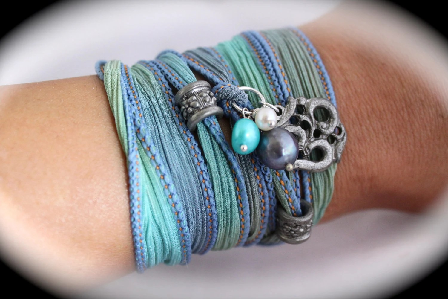Mermaid. Unique Hand Dyed Silk Ribbon Bracelet with Yoga Charms and Pearls. Knotted Fashion Wrist Wrap. Sterling Silver. Om and Flower Beads