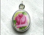 Old Country Roses Broken China Jewelry Sterling Charm