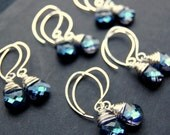 Blue Bridesmaid Earrings, Five ( 5 ) Sets of Earrings, Custom Color Swarovski Crystal Sterling Silver Wire Wrapped Drops, Gift Set - GreenRibbonGems