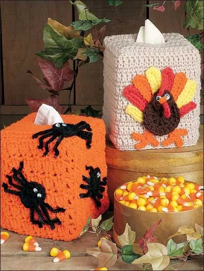 Crochet Halloween  fall  Thanksgiving  Tissue box covers  Free shipping