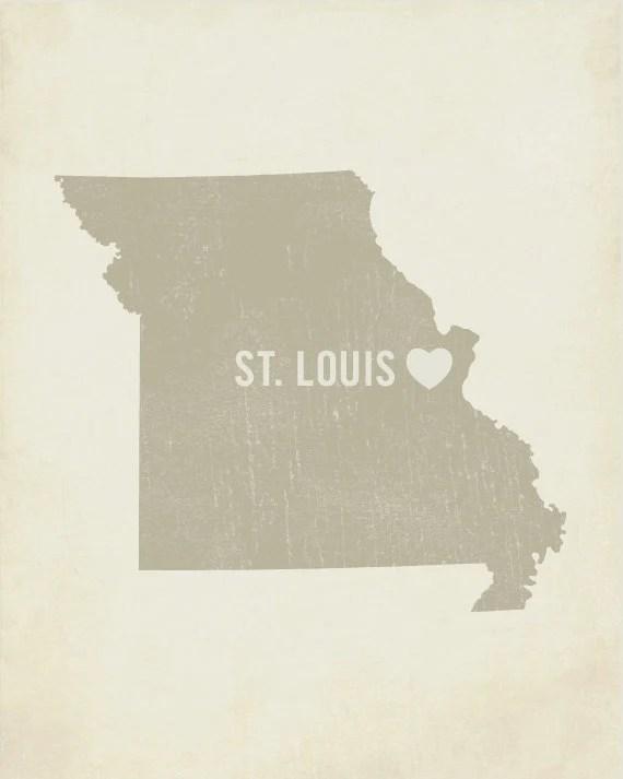 I Love St. Louis 8x10 Wood Block Art Print - Missouri City State Heart