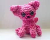 Cat Amigurumi Pink Crocheted Stuffed Animal wool Sunny