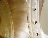 Custom made bespoke cream coutil steel boned ribbon corset waist cincher underbust corset night corset pin up steampunk made to measure