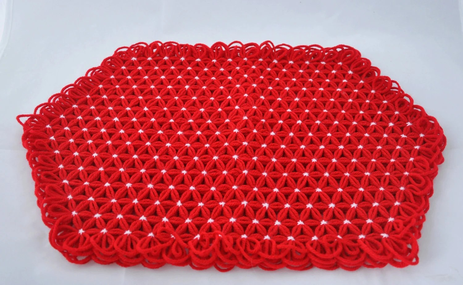 Placemats in 4 Layers of Bright Red Yarn with White Ties - Set of Four