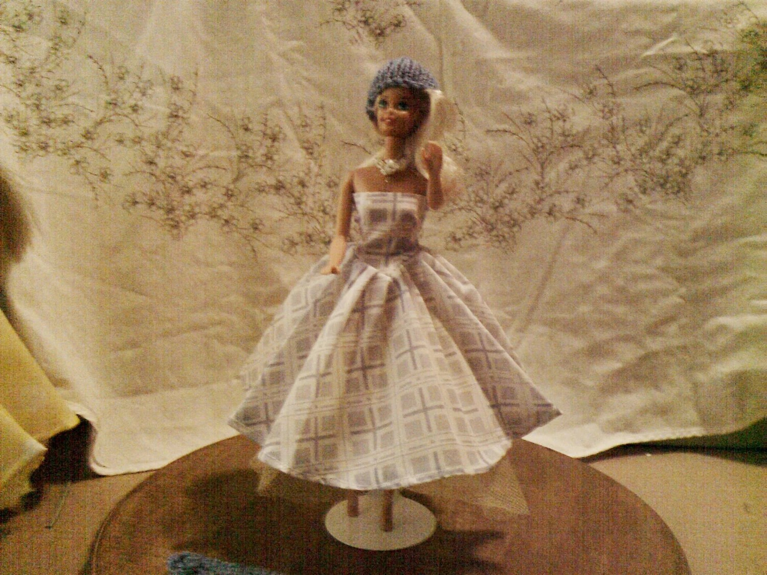 BARBIE DOLL CLOTHES- Dress,  petticoat,  hat , poncho,  (nannycheryl original ) 880  x  82