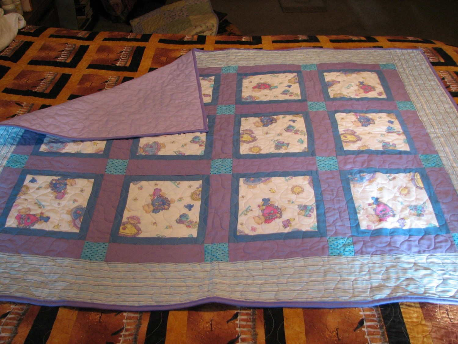 "Baby Girl Quilt  with Kittens and Baby Chicks in lavender and blue and pink 41"" X 51"""