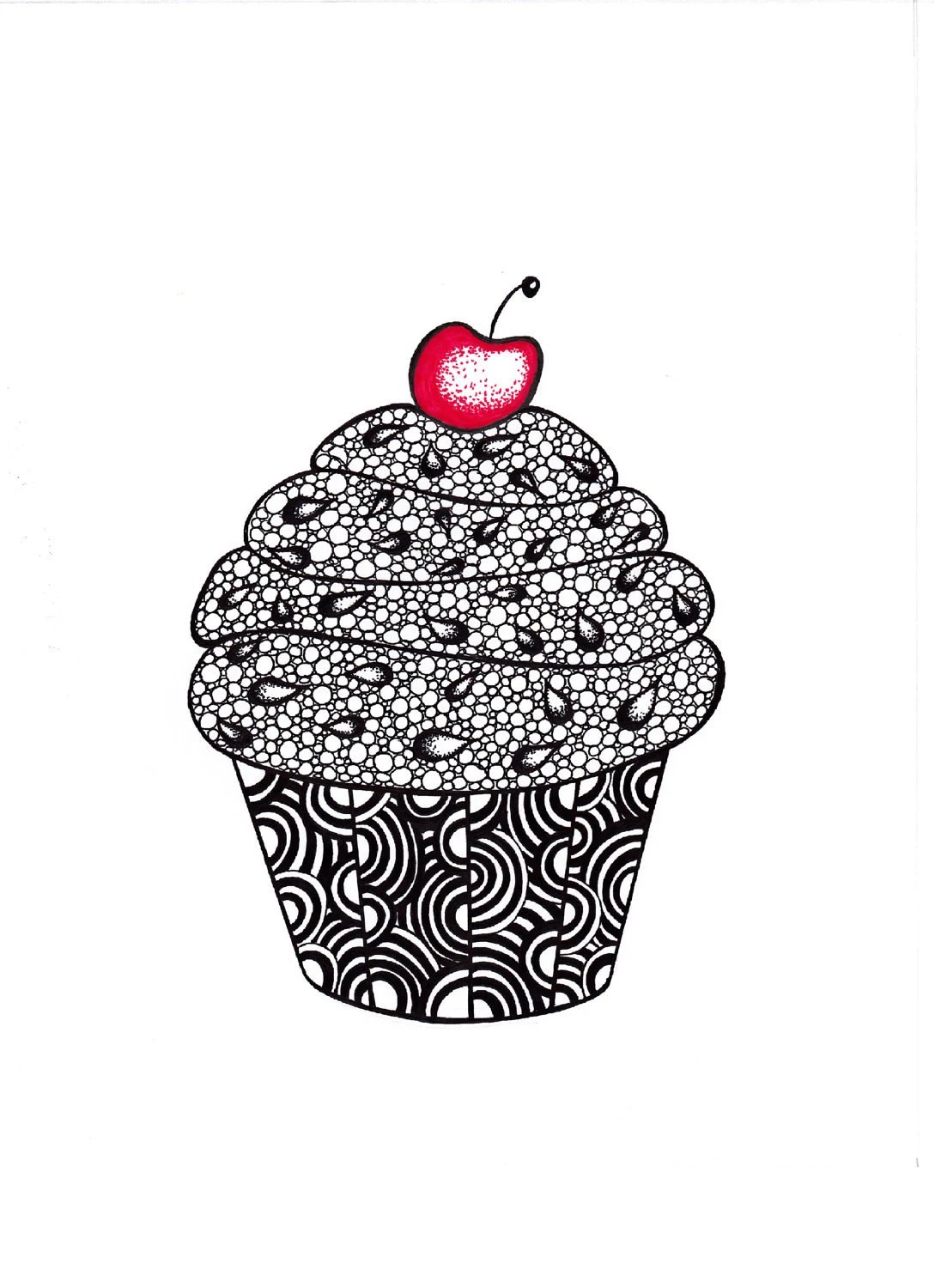 Ink Drawing Print, Cupcake, Abstract Art Zentangle, 5 x 7