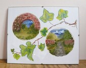 secret garden wall art, original fabric painting and watercolour ivy mount in a clip frame.