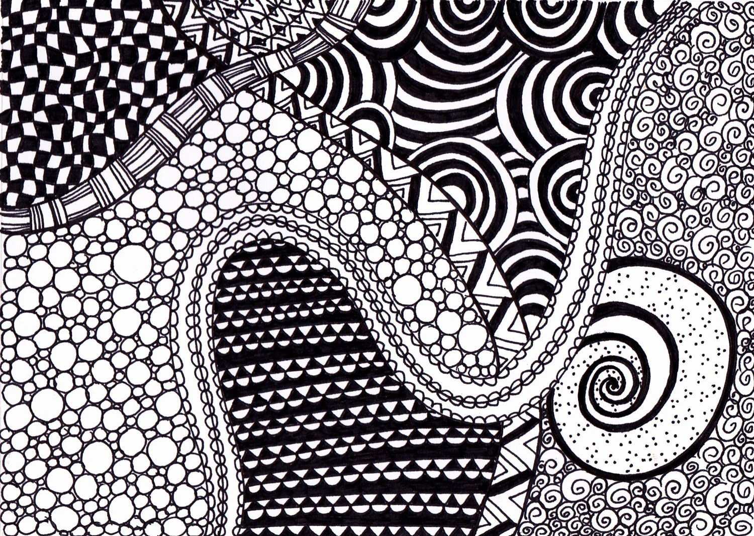 Print- Ink Drawing Zentangle, Black and White, 5 x 7