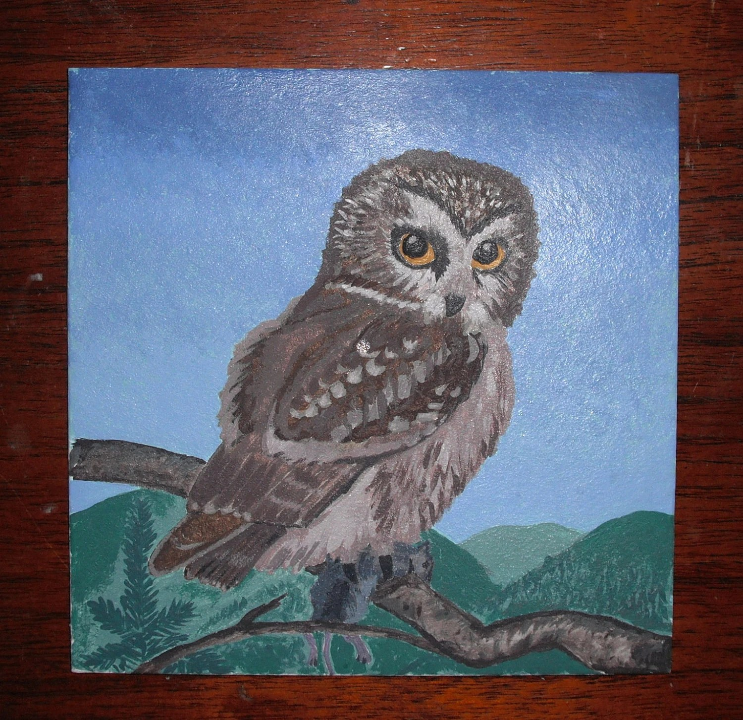 Original  Painting The Owl We Love