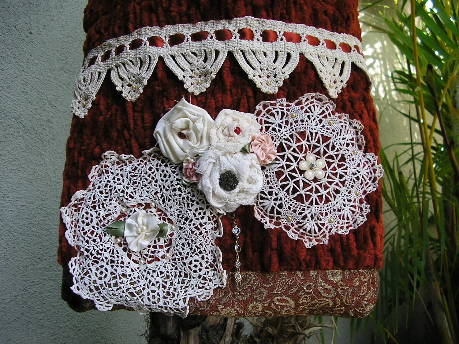 Doily Embellished Purse, pearls, doilies, flowers, handmade fabric bag