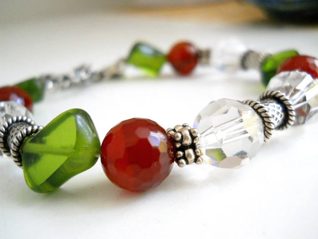 Deep Red Carnelian and Green Bracelet, Crystal, Sterling Silver, Autumn Colors