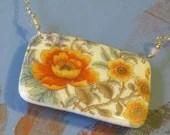 Free Shipping Orange Poppy Porcelain Necklace