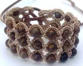 "Crochet Jewelry, Bohemian Bracelet or Cuff, Earthy Colors ""Flower Stone"""