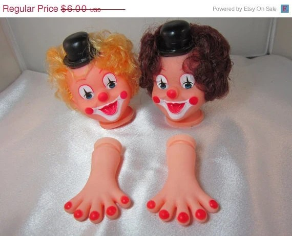 On Sale Craft Clown Head and Hands in Blonde or Brunette