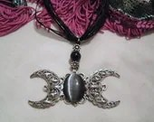 Elegant Triple Moon Goddess Necklace, wiccan, witch, pagan, witchcraft, mystical, magical, occult, spiritual, metaphysical, new age